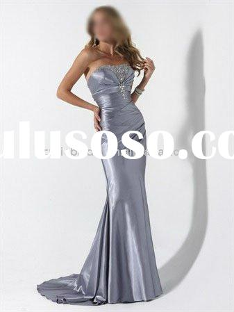 silver prom dress, evening dress, party gown 50284