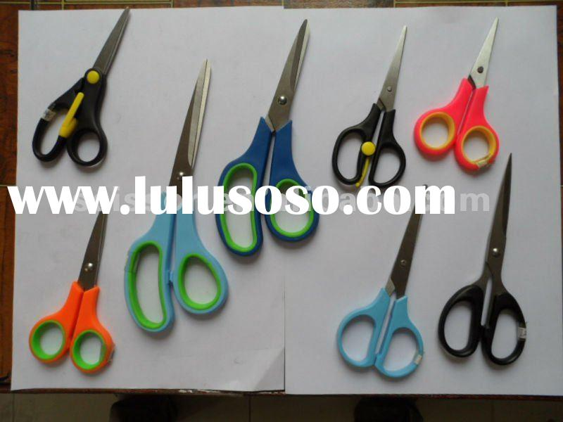 soft grip PP plastic handle stainless steel stationery scissors