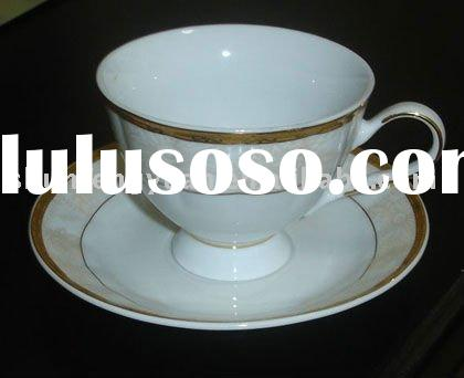 stoneware coffee cup and saucer,elegant decal