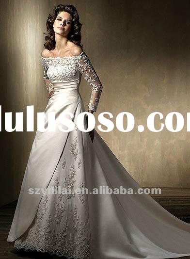 white taffeta appliqued off shoulder wedding dress long sleeve