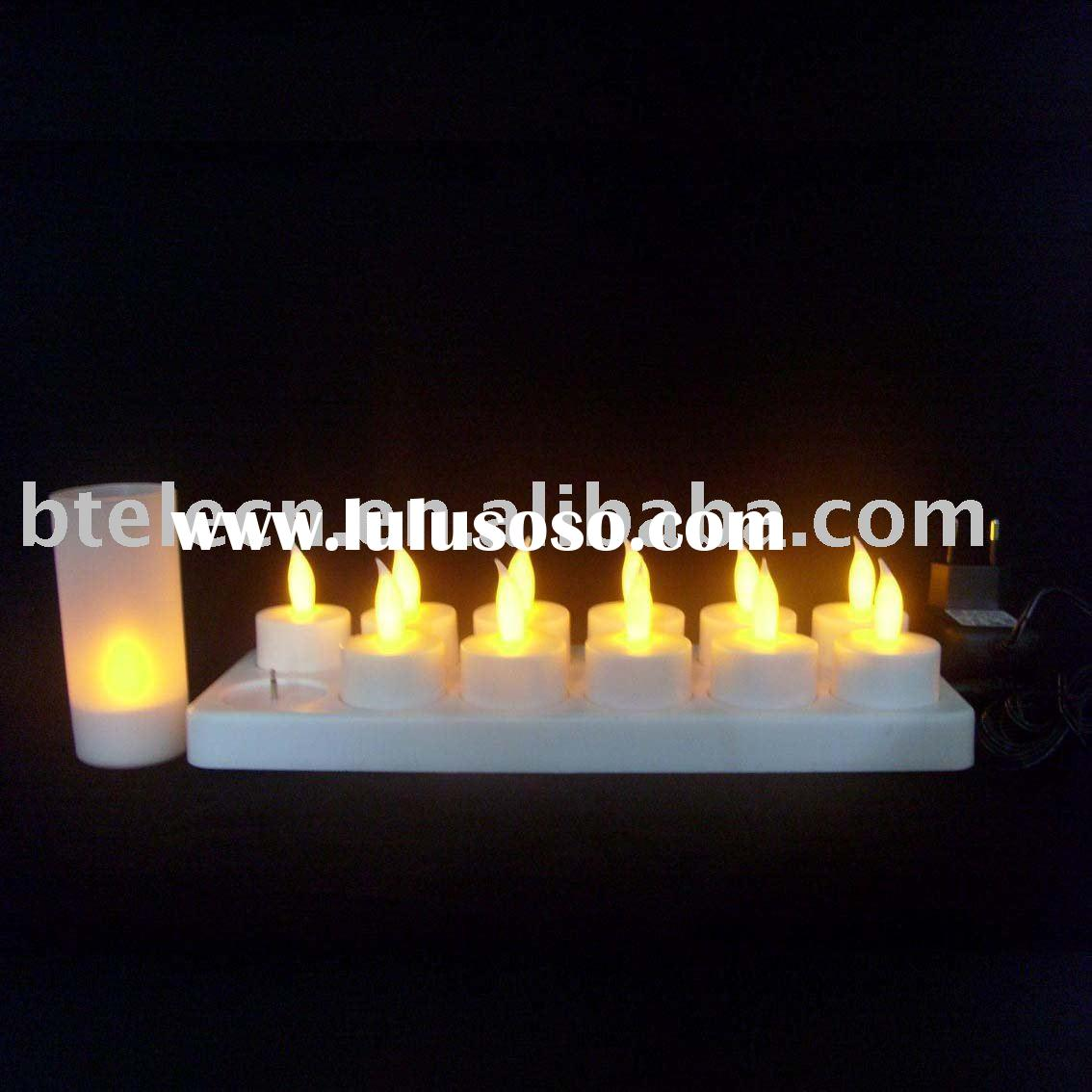 12 pcs Recharge LED candle with frosted holder
