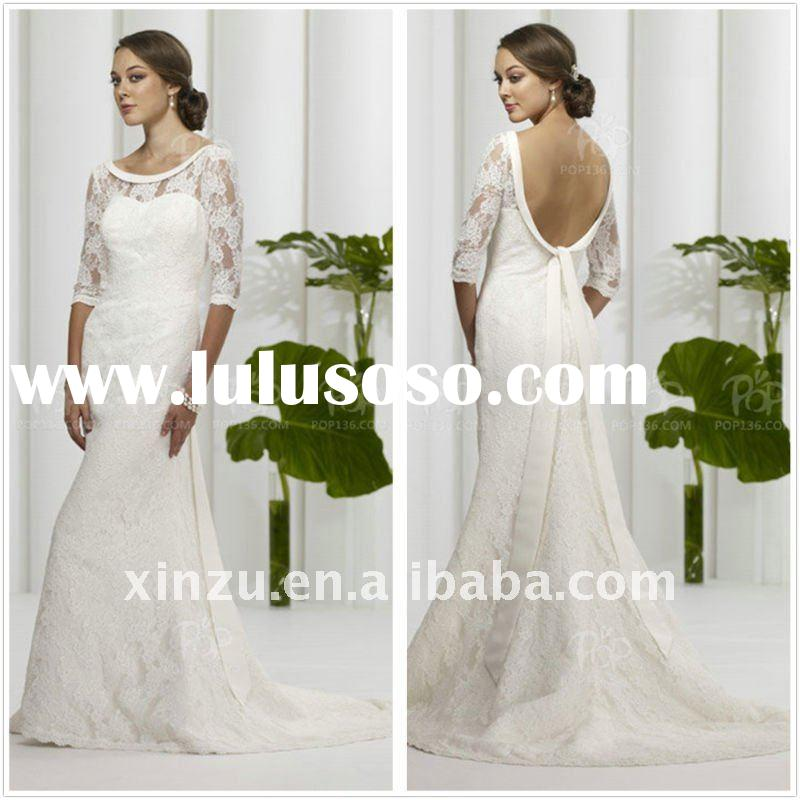 2011 New Style Backless Mermaid Lace Long Sleeve Wedding Dress T-1127924