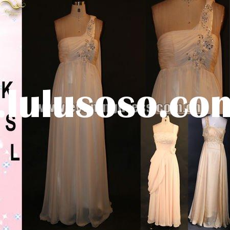 2012 Beige Color One Shoulder Beaded Elegant Chiffon Evening dresses Long DD2029