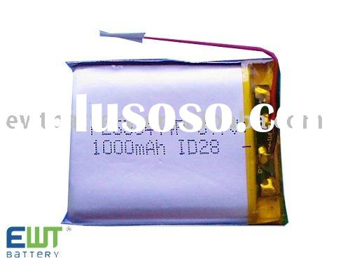 3.7V 1000mAh Li-polymer battery for mp3 accessories with high capacity and long life cycle