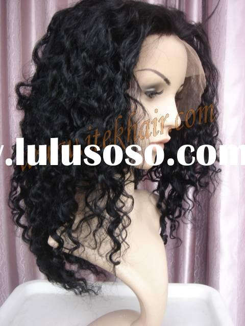 Afro-American curl indian remy hair full lace wigs,wigs,wig in stock, accept paypal!