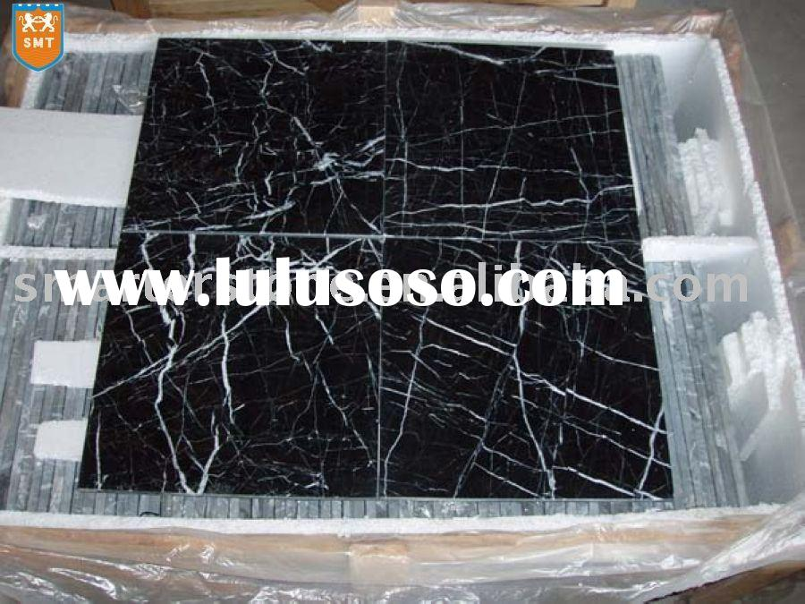 Black Marble Stone Tiles/Nero Marquina Flooring Tiles