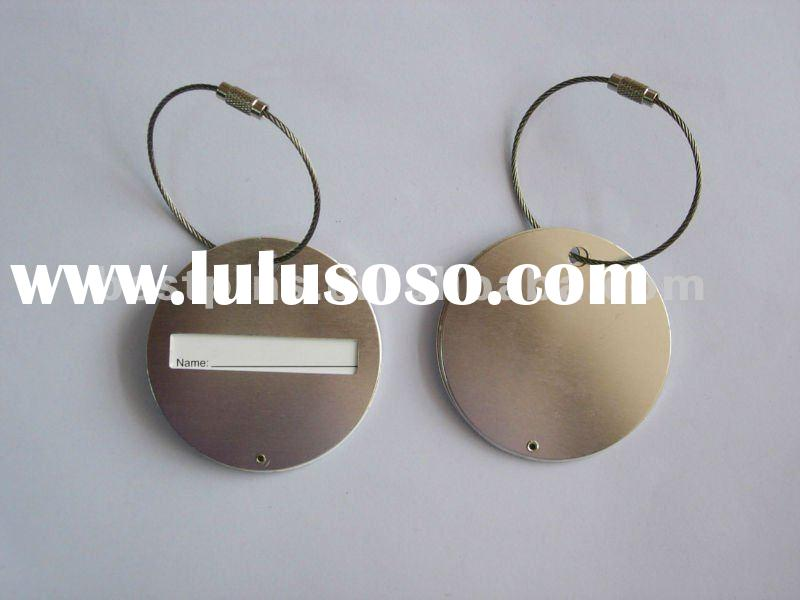 Blank round shape metal luggage tag
