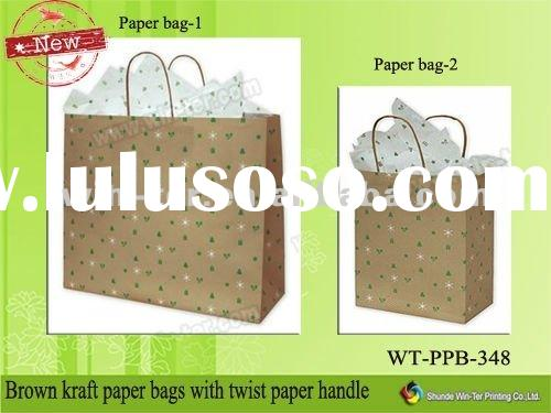 Brown kraft paper bags with twist paper handle WT-PPB-348