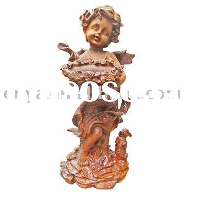 Cast Iron Statue,Garden Ornament/Decoration,Angel Carrying Pot With Cat