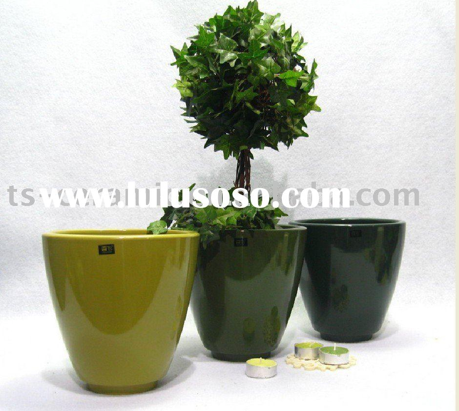 Ceramic Decorative Glazed Flower Pot Round