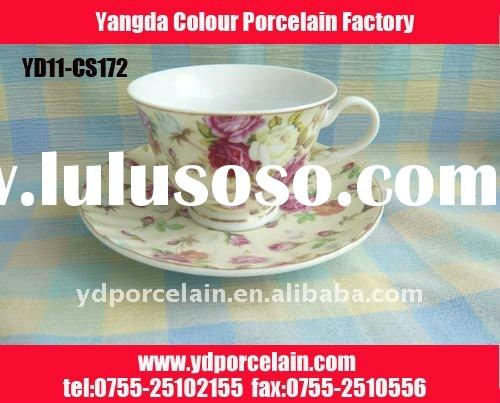 Ceramic / porcelain cup and saucer in flower decal