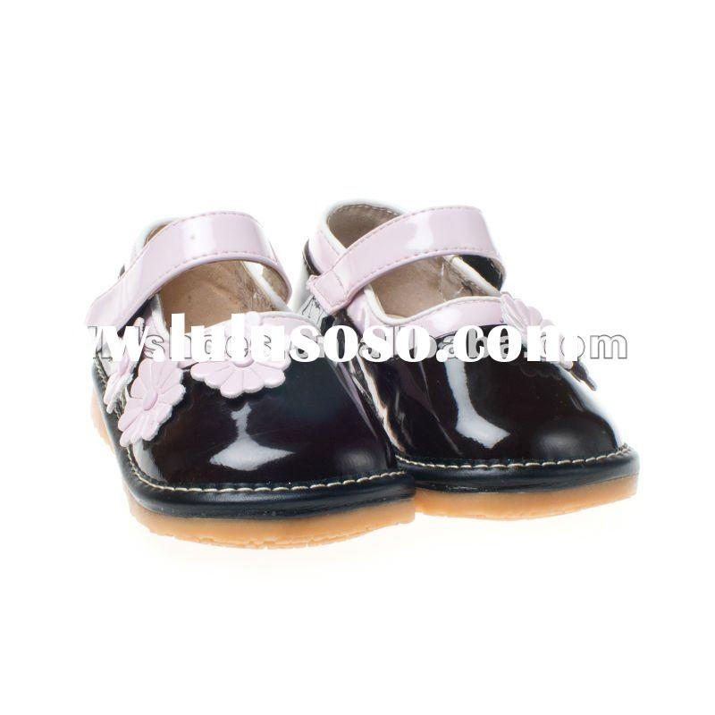 Daisy flower attached infant leather squeaky baby shoes brown SQ-A10504-BR