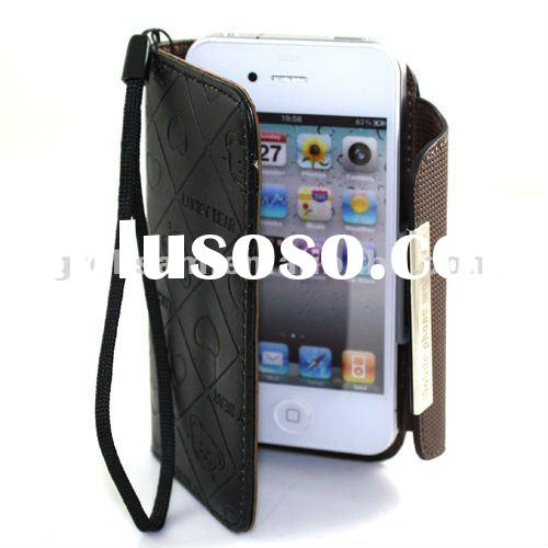 For iPhone 4 4S Leather Wallet Case with Lanyard card slots Black