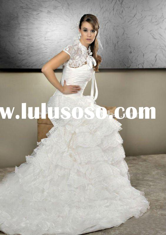 Gorgeous Lace Bolero Jacket Tiered Lace Skirt Real Sample Wedding Gown