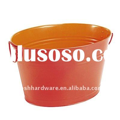 H1-0009-D1 Two Tone Oval Metal Ice Tub With Handle