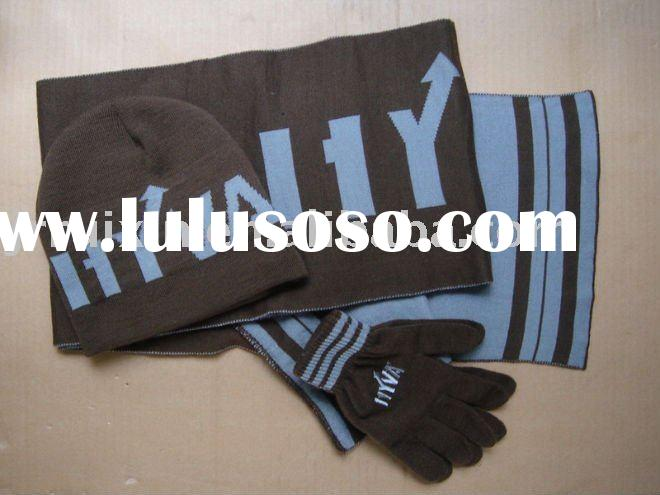 Jacquard knitted hat and sport scarf sets for men
