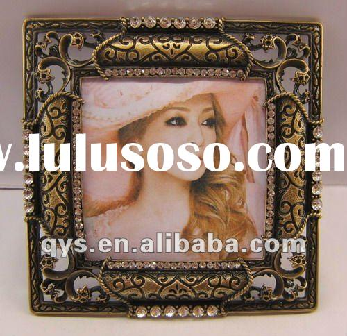 Jeweled Metal Picture Frame, Zinc Alloy Photo Frame