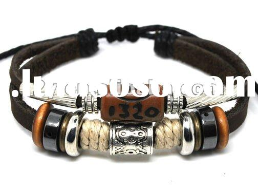 L22 leather friendship bracelet,100% real bangle handmade wrap jewelry