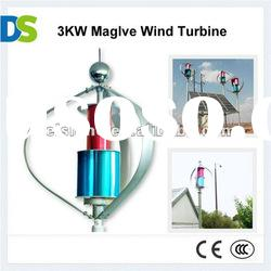 M 3KW magnetic levitation vertical axis wind turbine