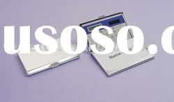 Metal business card holder with solar calculator (promotional gift)