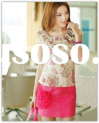 New arrival charming mini skirt with big pink realistic flower