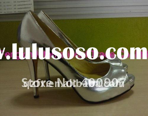 OEM custom women shoes silver patent leather ( small order with custom