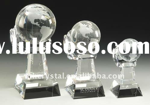 Optical Crystal world globe Award with stand MH-8189
