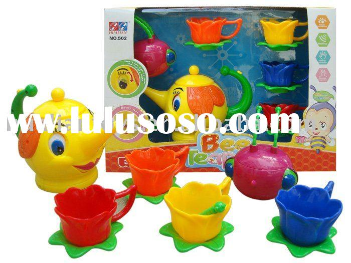 Plastic colorful tea sets with musice and sound effects mini tea set