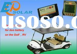 Solar battery charger for dual battery support remote display meter