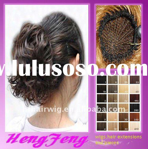 Synthetic fashion dark brown hair clip bun pieces