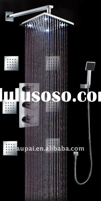 Wall Mounted Chrome LED Thermostatic Shower Set With Brass Spray Jets (I-007-12)