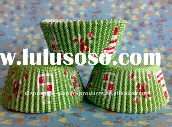 Wholesale Cupcake Cups Christmas Christmas Candy Cane Green muffin baking cups cupcake liners cases