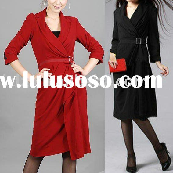 Winter coat lady red, black long fahshion dress coats DK770 designer works in 2011