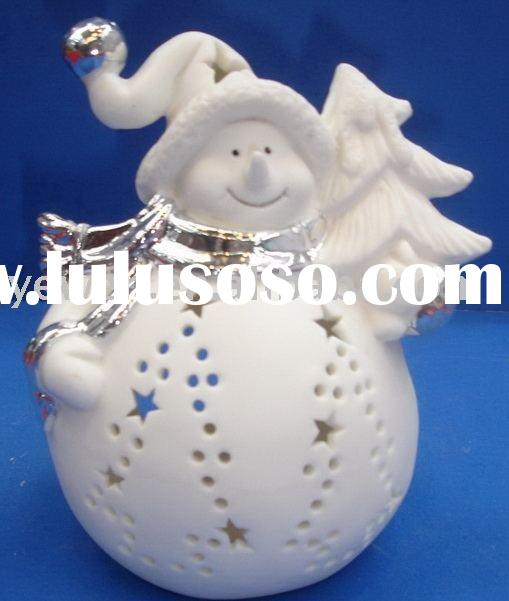 Xmas ceramic giftware,snowman candle holder