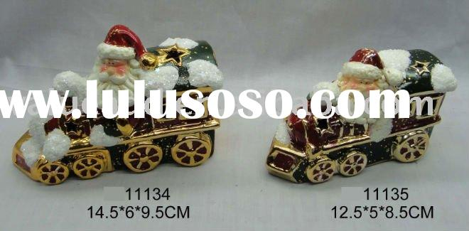 christmas ceramic santa LED or Tea-light candle holder train