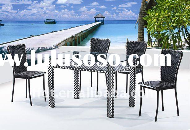 competitive price new design rattan dining chair and table set