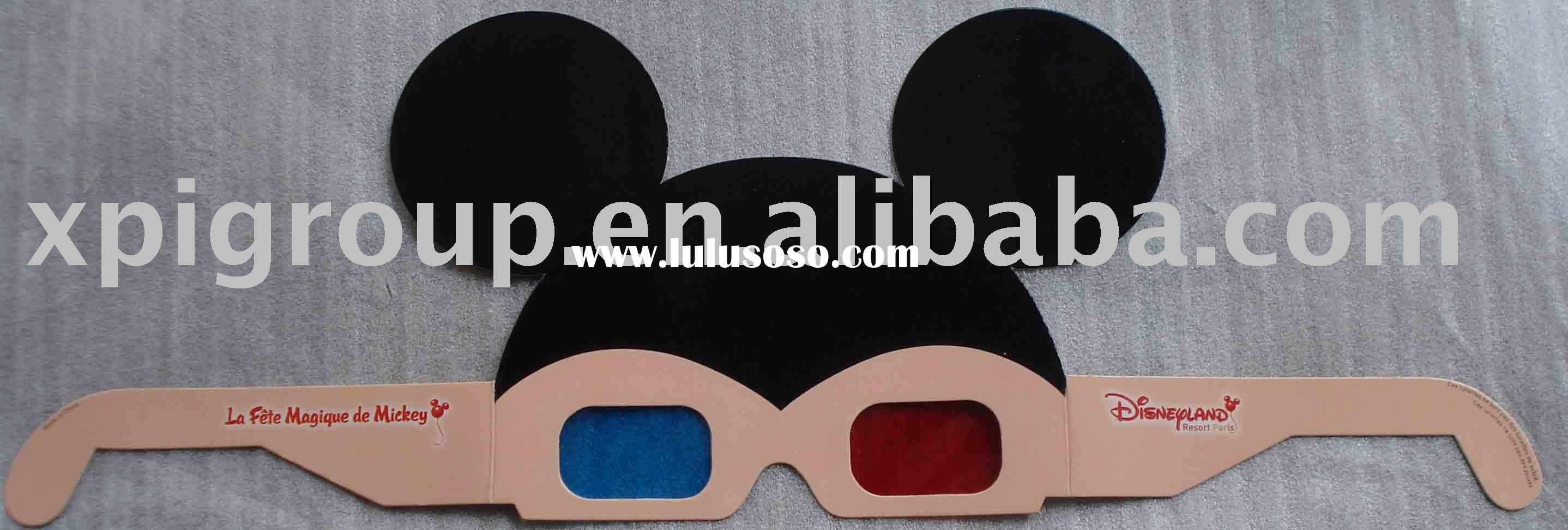 custom shape 3D glasses/printed paper 3D glasses/Red+Blue 3D glasses