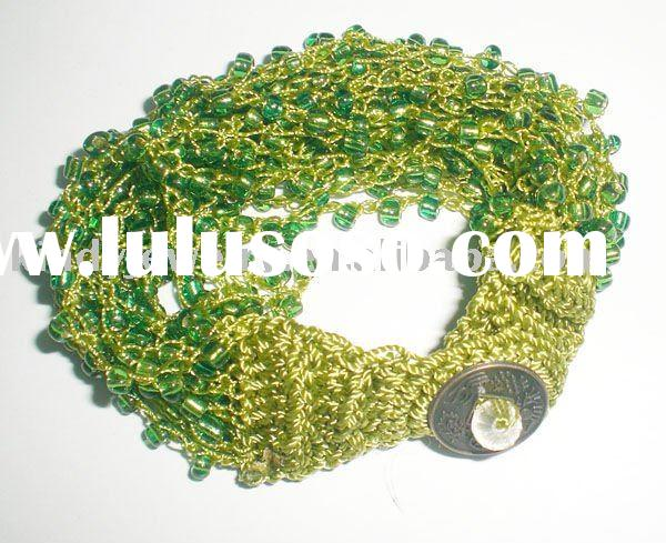 expandable small glass beads knitted handmade bracelet jewelry
