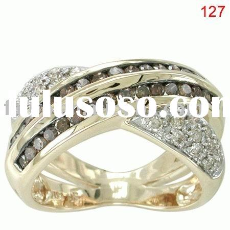 fashion chocolate diamond ring/18k/14k/10k yellow/pink/white gold ring