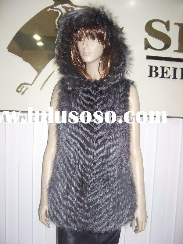 fashion silver fox fur coat for women