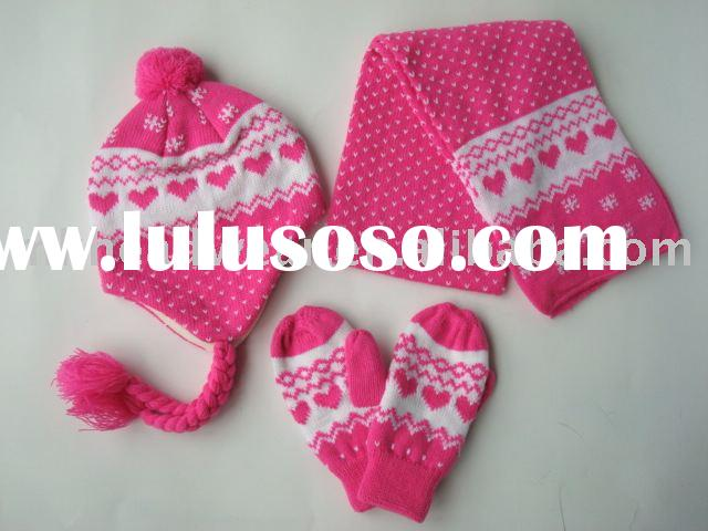 girl's machine knitted set of hat scarf and gloves