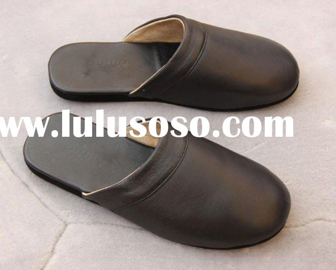 good quality men leather house slippers
