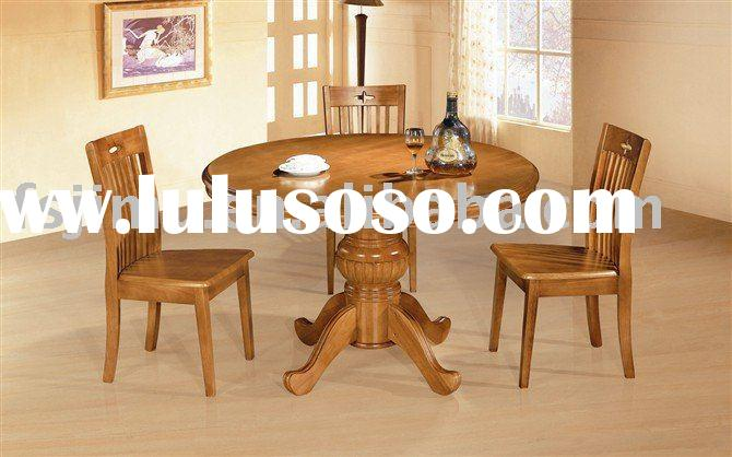 high quality home furniture rubber wood round pedestal table and chair