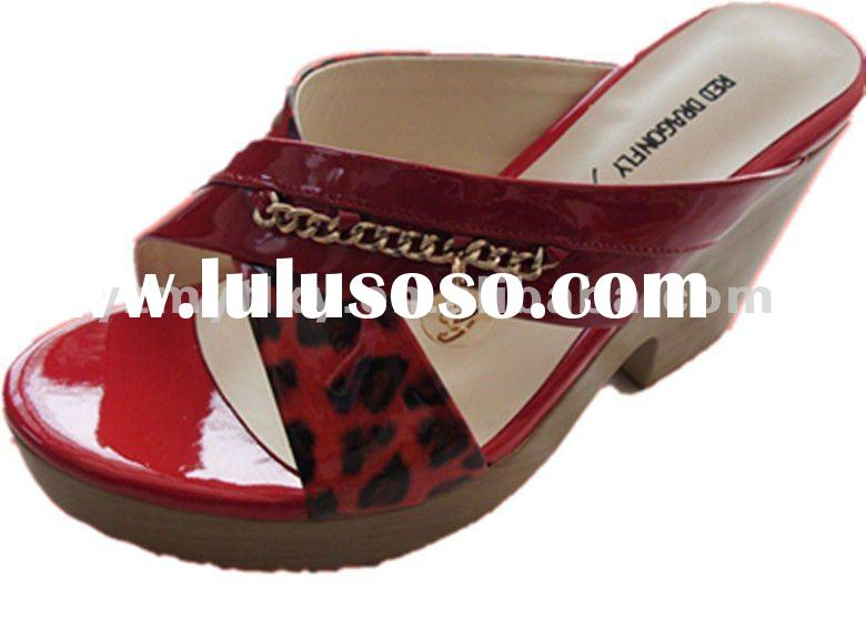 high quality ladies fancy leather wedge sandals and slippers