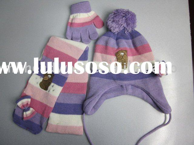 kids machine knitted hat glove & scarf set