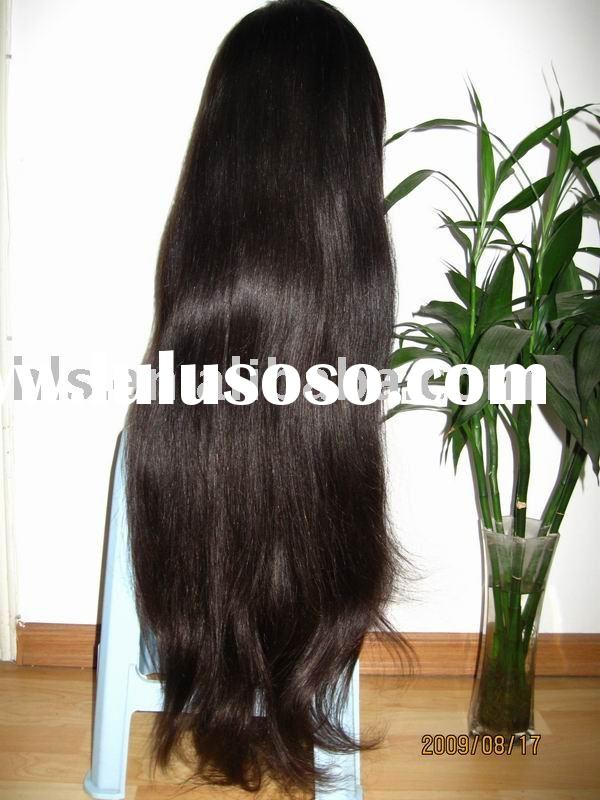 ladies'long human hair full lace wig accept paypal