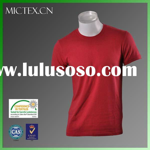 men's plain t shirts Red cotton spandex O-neck short sleeves bio washed OEM (OEKO-TEX,ISO900