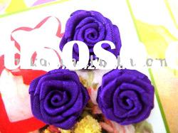 mini purple color satin ribbon handmade roses