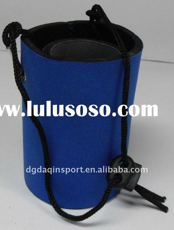 neoprene can cooler, blue can cooler, with strap design