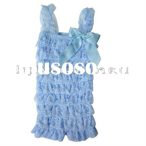 new fashion for girls wholesale babyblue lace petti romper